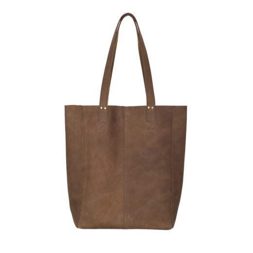 handgemaakte leren shopper totebag bruin