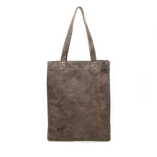 handgemaakte leren shopper totebag grijs