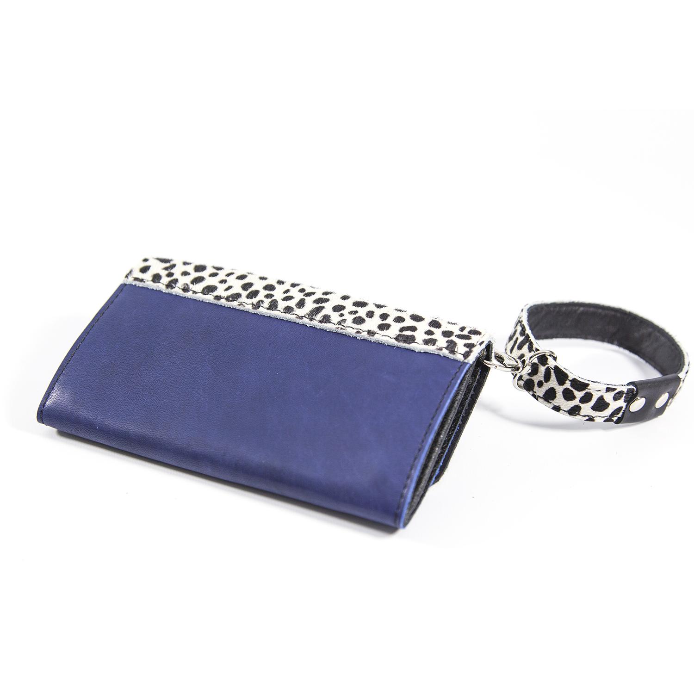 Blauwe Leren Portemonnee.Handgemaakte Leren Portemonnee Multifunctioneel Blauw En Cheetah