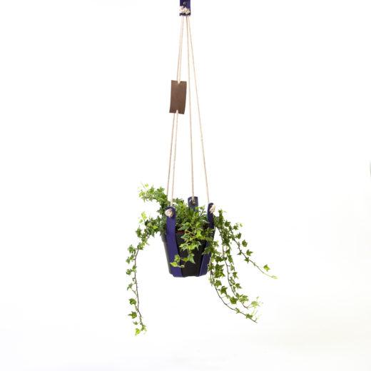 plantenhanger leer paars