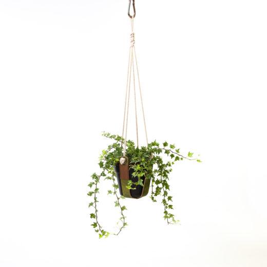 plantenhanger leer mosgroen