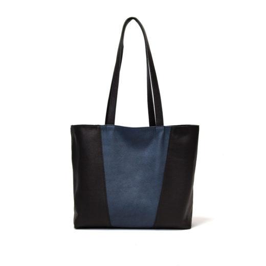 leren handgemaakte reversible tas blauw en zwart
