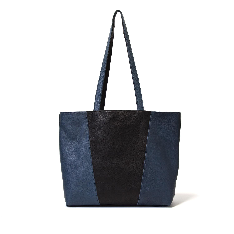 leren handgemaakte omkeerbare tas blauw en zwart