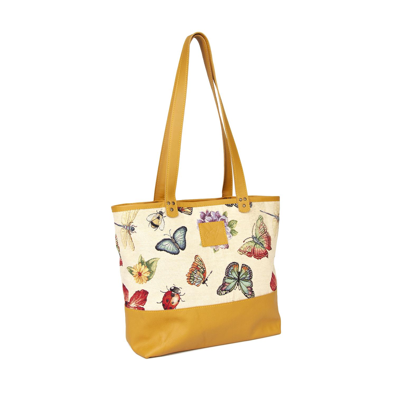 Wonderbaarlijk Handtas met stoffen patroon Floor | okergeel 1 - Handgemaakte PH-87